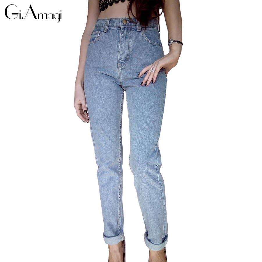 Jeans Mujer 2019 Femme Vintage Boyfriend Fit High Waist Women's Jeans Elastic Wash Basic Mom Skinny Jean Loose Trouses Plus Size