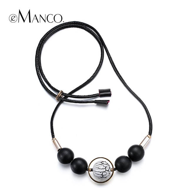 //Black wooden bead leather chain necklace// new long beaded necklaces for women 2015 elegant bijoux femme eManco NL13422