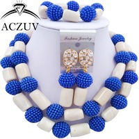 Brand ACZUV Royal Blue Imitation Pearl and Ivory White Coral Beads Necklace Jewelry Set African Nigerian Wedding Jewellery AN084