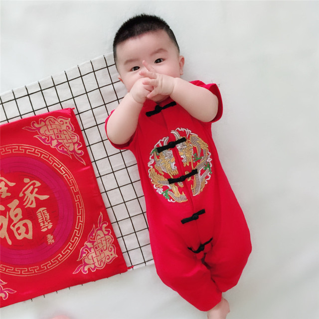 f0fa482fc Chinese Style Traditional Embroidery Baby Rompers New Year Baby Boys Girls  Clothes Cotton Suit Infant Jumpsuits Costume