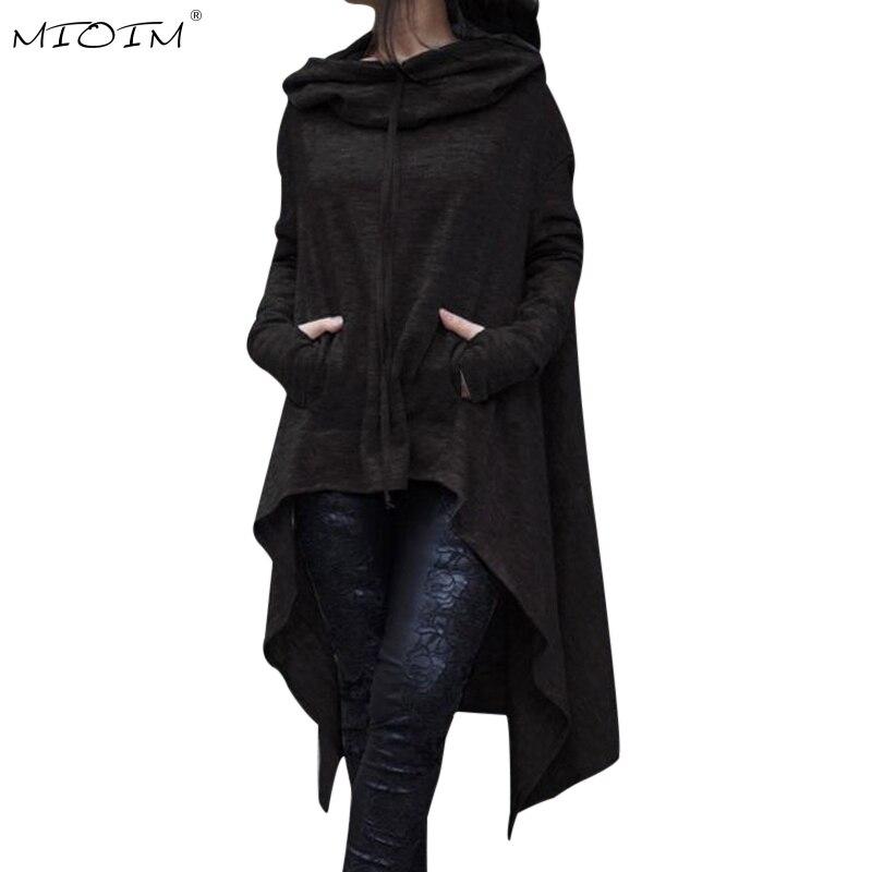 MIOIM Herbst Asymmetrische Länge Mantel Frauen Casual Kapuzenpulli Frauen Fronttaschen Lose Oberbekleidung Femme Pullover
