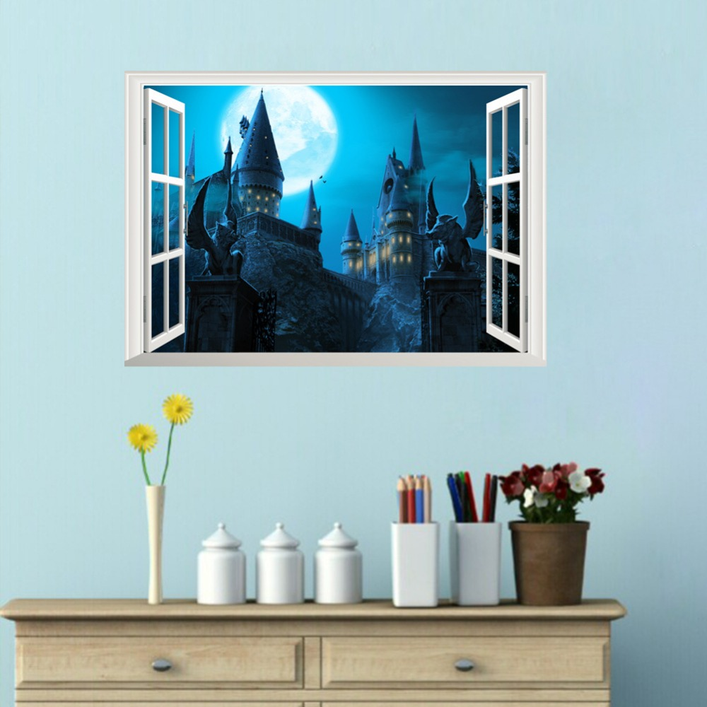 New Harry Potter 3D Fake Window Wall Sticker Magic World Movie Poster Self Adhesive Kids Mural Creative Bedroom Decorative Decal