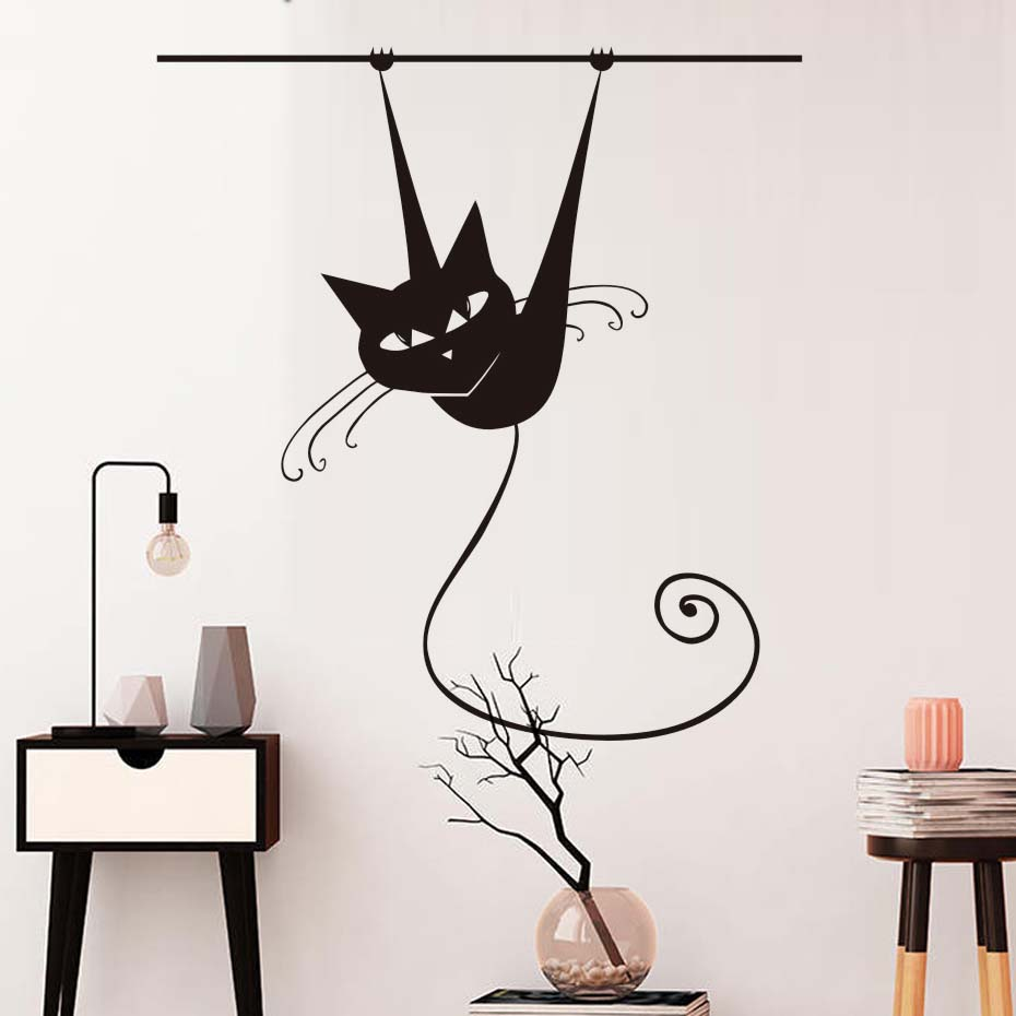 Hot Sale Animal Siamese Cat On Rod Wall Stickers Removable Vinyl Wall Decal Mural For Living Room Home Decor Wallpaper For Kids ...