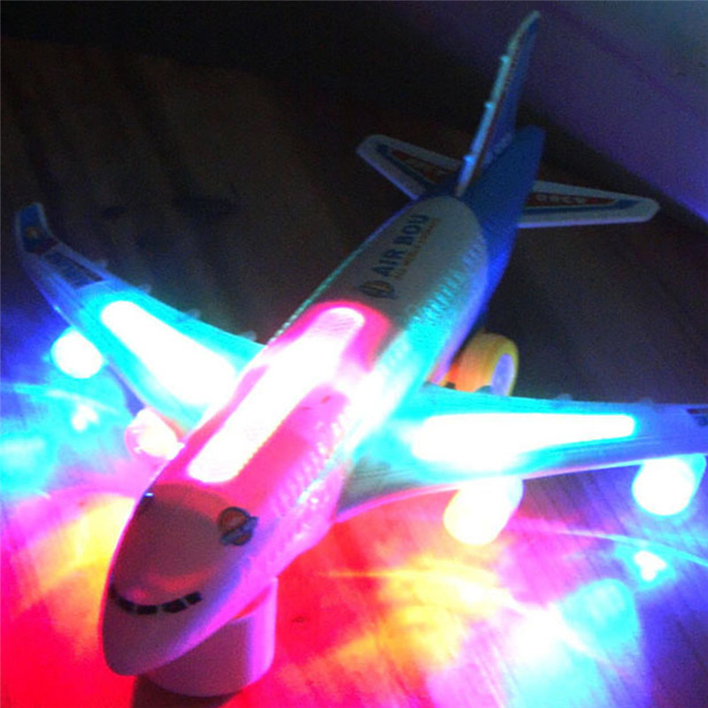 Blue Light Universal Airbus A380 Plane Model Flashing Sound Electric Airplane Children Kids Toys Gifts Automatic Steering