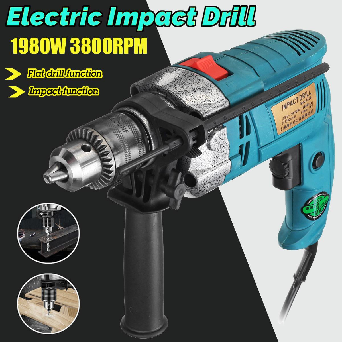 1980W Electric Brush 13MM Electric Handheld Impact Flat Drill Guns Torque Driver Tool High Quality