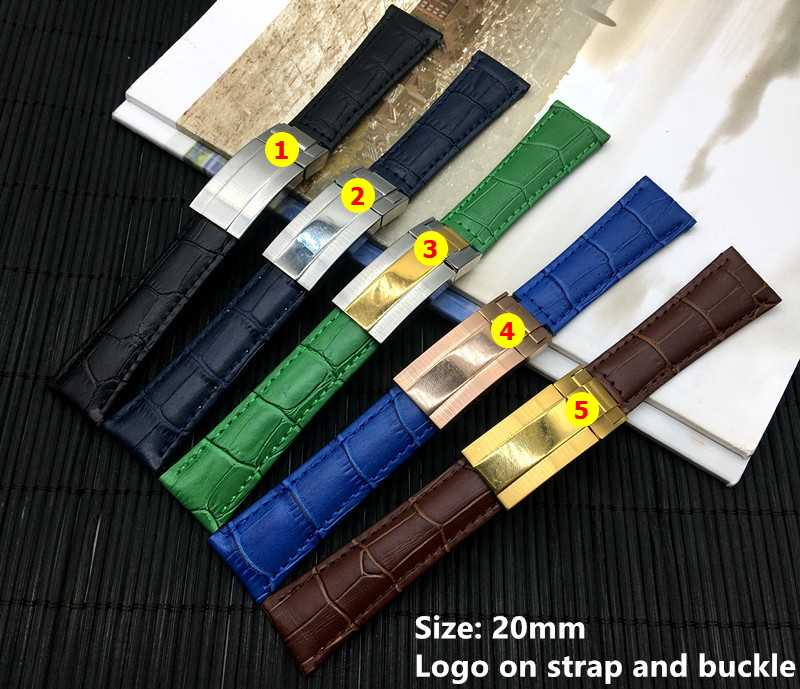 20mm Black Green Brown Blue Genuine Leather Watchband Watch band For Role Daytona Submariner strap gmt belt buckle with Logo on