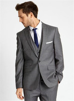 Custom Made Light Grey Tuxedos Business Suits Wedding Suits For Men Tailor Made Groom Suit For Men