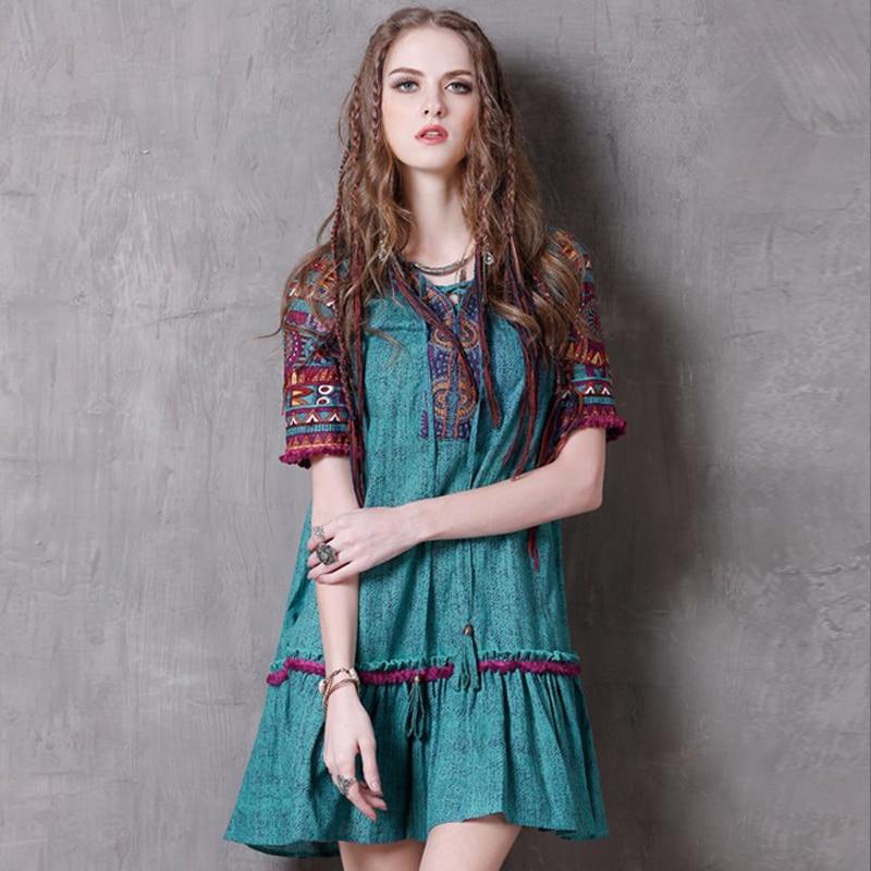 Summer Style Women Dress 2017 Vintage New Cotton Linen Dresses V Neck Floral Print Loose Vestido