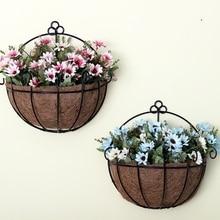 Цветочные горшки железные и кокосовые DIY садовые подвесные горшки настенные корзины горшок подвесная корзина цветочный горшок пластиковые цветочные горшки