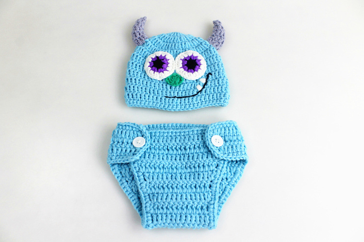 Cotton-Newborn-Photography-Props-Fotografia-Crochet-Infant-Baby-Hat-Pant-Shoes-Monster-Baby-Boy-Girls-Clothing-Set-Keepsake-012