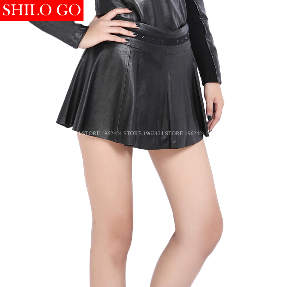 2017 winter autumn fashion new women high quality sheepskin nail beading waist pleated A-Line sexy mini black leather skirt 3XL inc new black beige women s 14 textured snake print pleated mini skirt $89 030
