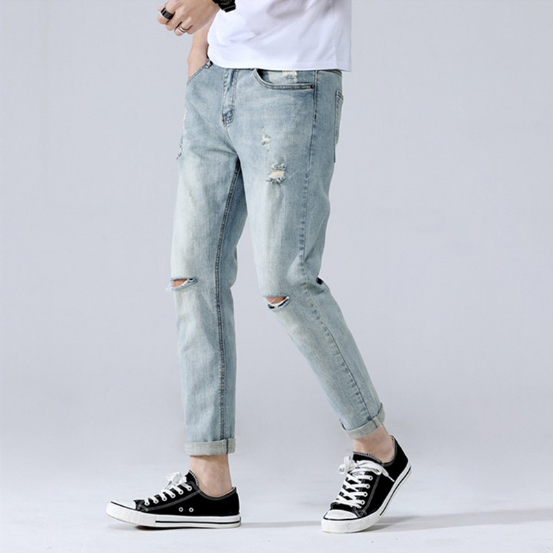 2019 New Spring Summer Man Slim Holes Jean Men Retro Fashion Jeans Male Personal Amazing Casual Denim Quality Pant