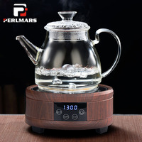 1100/1300ml Heat Resistant Glass Teapot Electric Ceramic Heater Dedicated Cooking Teapot Lemon Flower Tea Kettle Drinkware Decor