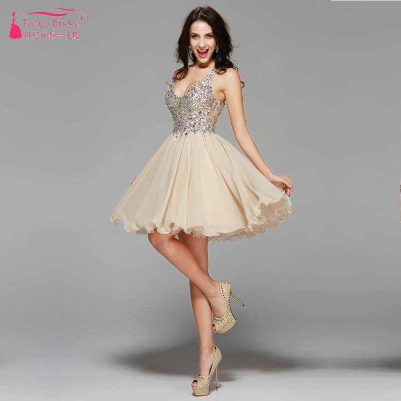 Sexy Fashion Bling Bling V Neck Crystal Sleeveless Above Knee A Line Champagne Chiffon   Cocktail     Dress   Party