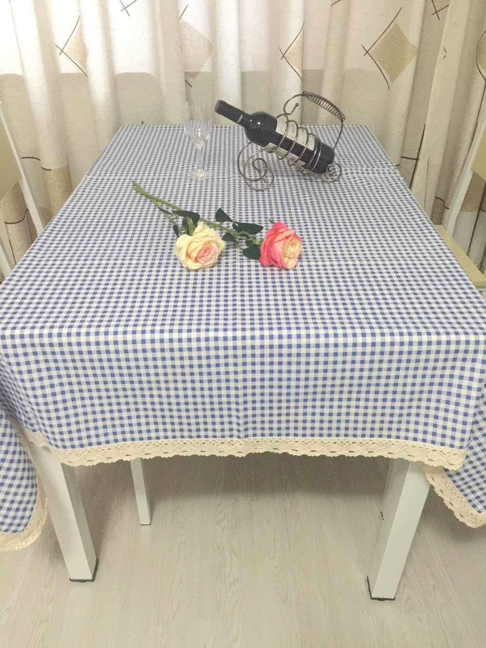 free shipping 100% cotton tablecloth fabric table cloth Small lattice coffee table cloth table on sale