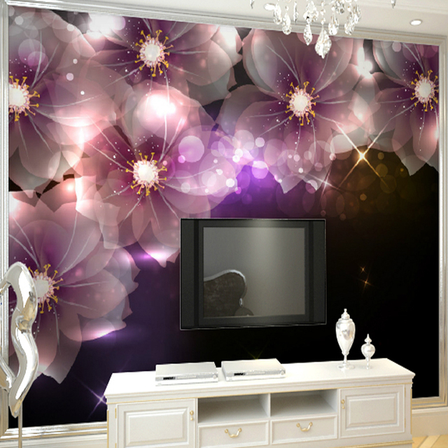 Wall Purple Mural Tv Background Shining Wallpaper Photo Living Room