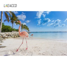 Laeacco Tropical Backdrops Flamingos Palm Tree Sea Beach Sand Blue Sky Cloudy Scenic Photo Backgrounds Photocall Studio