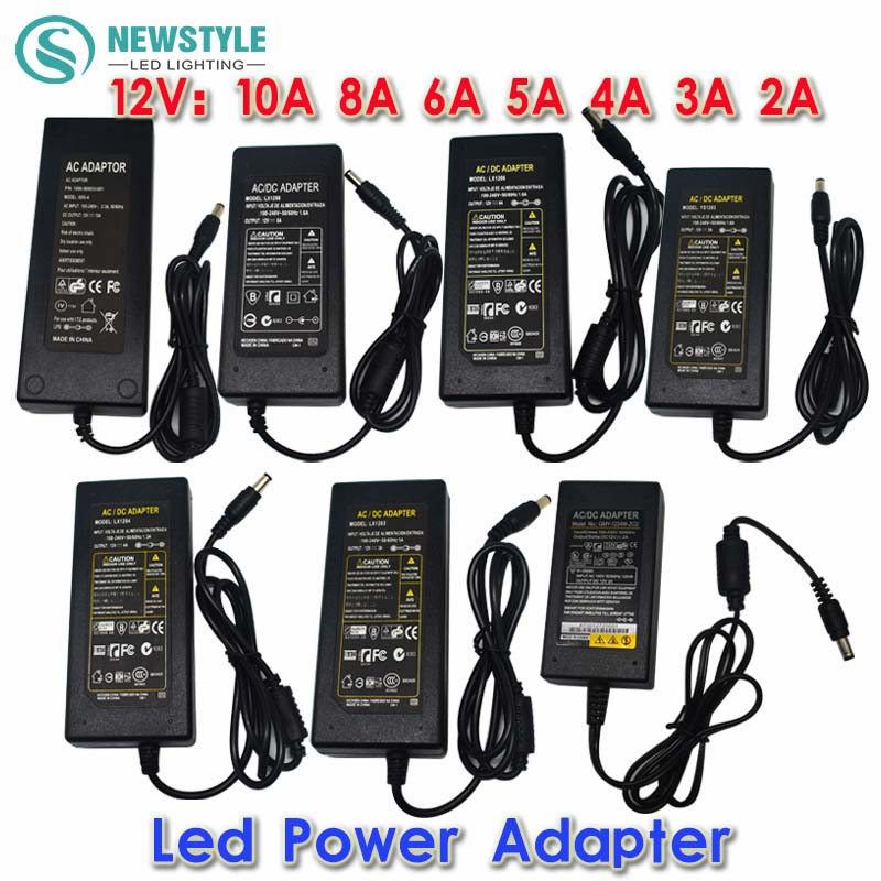 New 12V/24V 2A/3A/4A/5V/6A/8A/10A AC 100V-240V Converter Adapter Power Supply Transformer for 5050 3528 5630 LED Strip Light