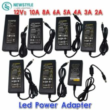 Nuevo Adaptador Convertidor de fuente de Alimentación para 5050 3528 5630 Luz de Tira del LED llevó el conductor 12 V/24 V 2A/3A/4A/5 V/6A/8A/10A AC 100 V-240 V