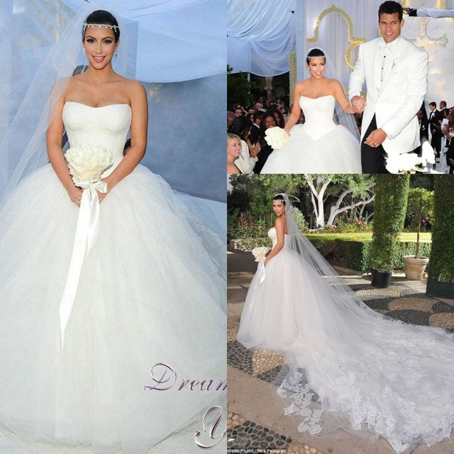 Vintage Cathedral Train Kim Kardashian Wedding Dresses vestido de ...