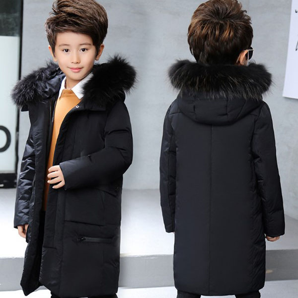 2018 new boy down jacket children's winter wear long Korean version of thick coat 2017 winter down jacket male korean version of self cultivation hooded thick in the long fashion trend of youth style downjacket