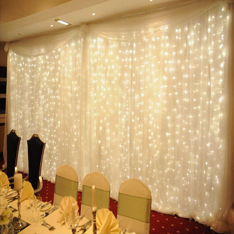 300 светодиодов сказочная гирлянда сосулька led занавес свет 300 лампочки Рождество свадьба праздничный декор для сада 220 В 4,5 м * 3 м 12strands-белый