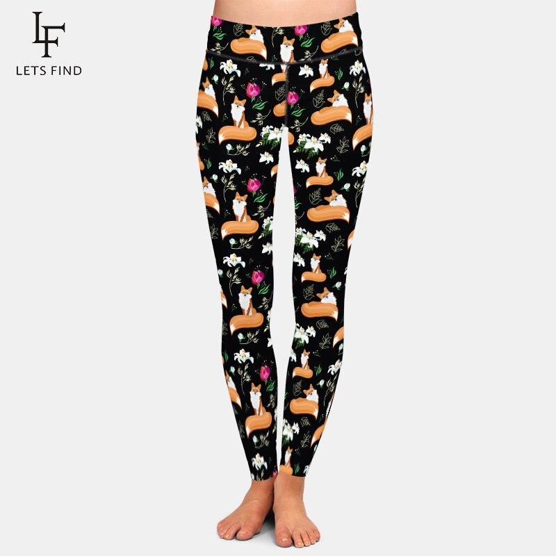 LETSFIND  Seamless Plus Size Women Black Leggings Fashion High Waist Fox And Flowers Printing Elasticity Leggings