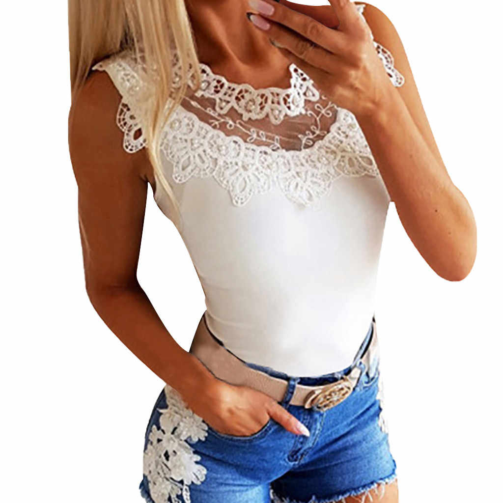 FREE OSTRICH Women Shirts Sexy Sleeveless Lace Patchwork V-Neck White Thin Silky Trend Elegant Noble Vogue Summer Blouse Shirts