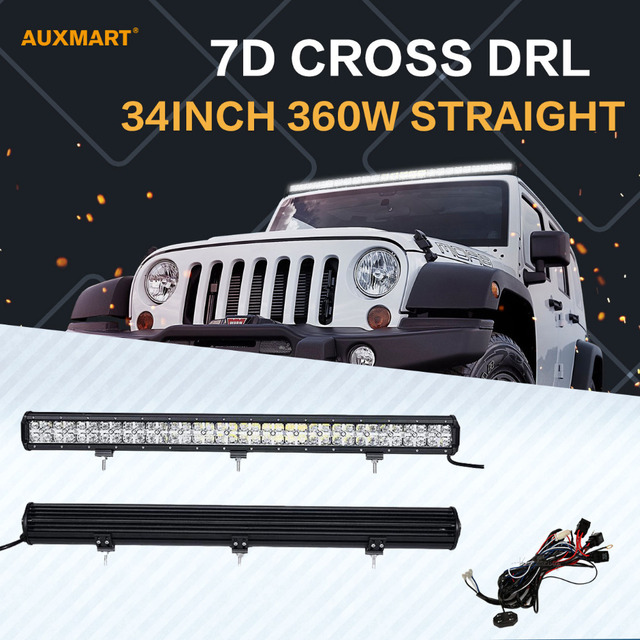Auxmart 7d 34 360w led light bar spotflood combo drl offroad led auxmart 7d 34 360w led light bar spotflood combo drl offroad led bar aloadofball Images