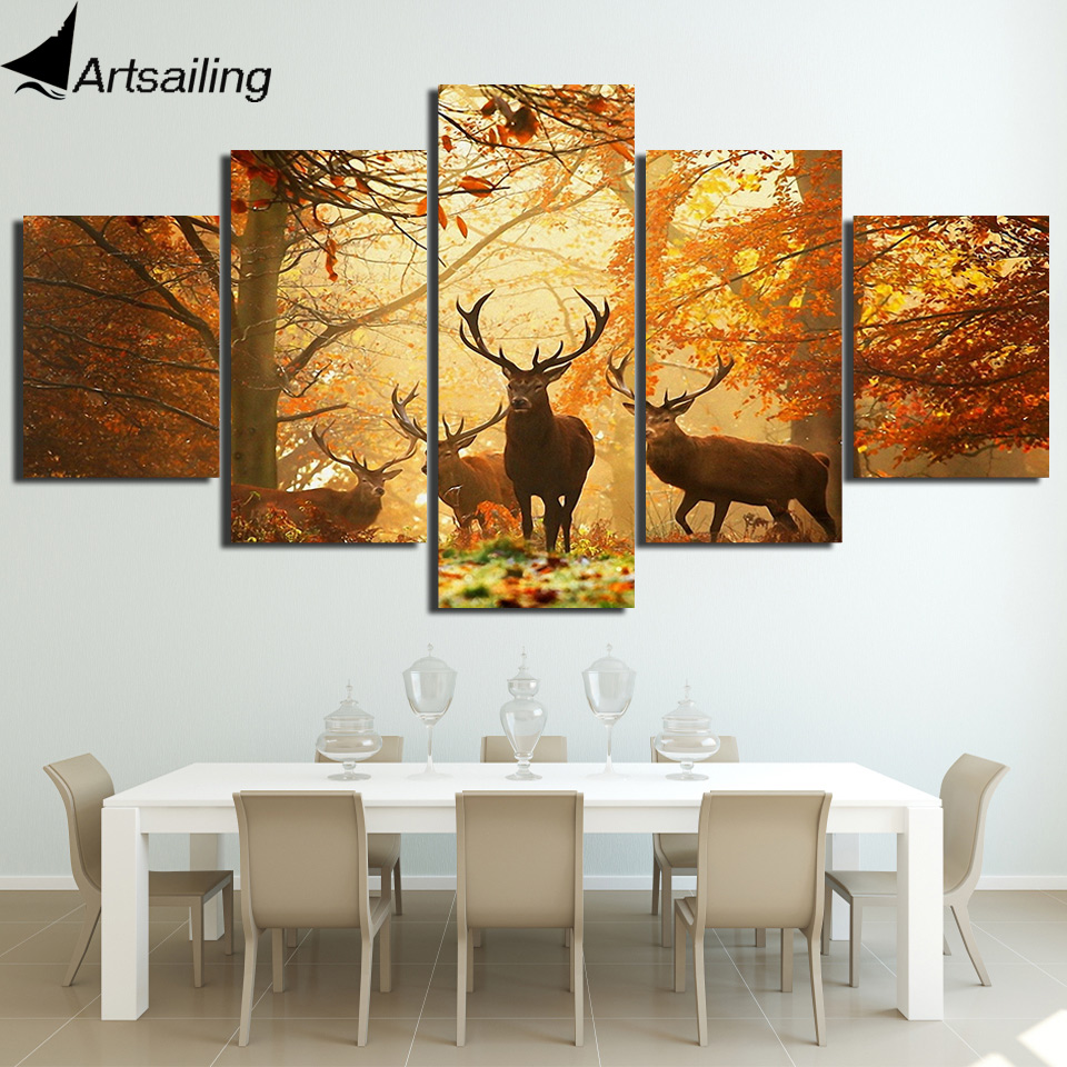 Modular Poster Hd Prints Home Decor 5 Pieces Forest Deer