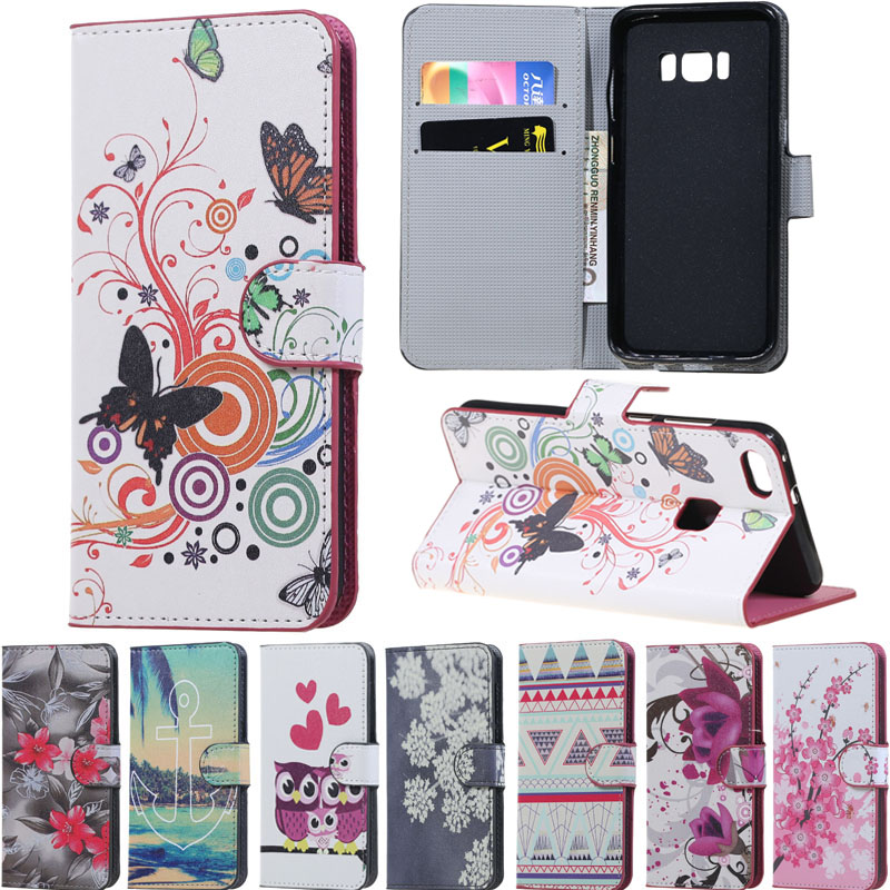 Pink plum owl PU leather case for samsung galaxy S8 PLUS phone bags S8 plus flip cover wallet fundas for coque SAMSUNG S8 plus