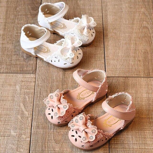 פעוט תינוקות ילדי תינוק בנות אלגנטי Bowknot פרח נסיכת נעלי סנדלי תינוק סנדלי ילדים סנדל לילדה