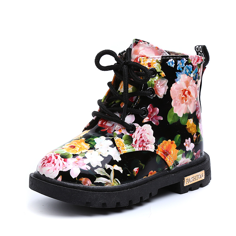 Comfy kids 2018 winter warm child Floral Boots Rubber Soled Girl Child Botas Graceful Fl ...