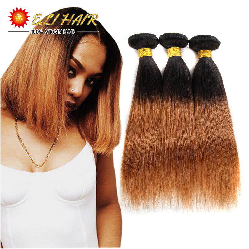 Ombre Straight Hair Weave Brazilian Virgin Hair Straight 3pcs Dark