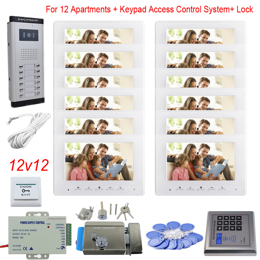 Access Control Keypad 12 Apartments Video Door Phones Color 7