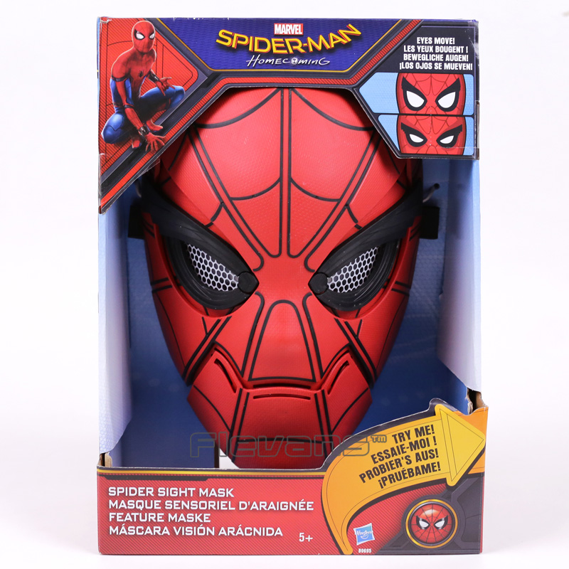 купить Marvel Spiderman Spider-Man Homecoming Spider Sight Mask (eyes move) PVC Figure Collectible Model Toy дешево