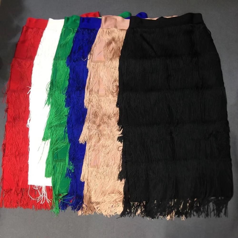 Newest Women 2019 Red White Green Blue Pink Black Solid Fashion Sexy Bandage Skirts Tassel Clubwear Good Quality Wholesale Festa