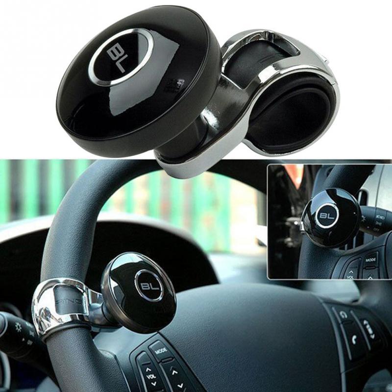 Universal negro Metal volante coche accesorios Helper Grip mando giratorio giro Control de mano Booster perilla de mando para el volante