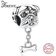 Forewe 100% 925 Sterling Silver Adorável Animal Bulldog Cão Oscila Encantos Beads fit Pulseiras & Colares DIY Jóias(China)