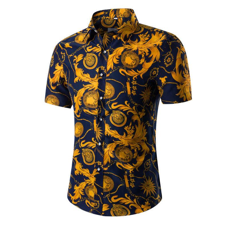 Baru Fashion Musim Panas Gambar Bunga Kemeja Pria Lengan Pendek Hawaii Kasual Pria Kemeja 10 Warna Ukuran Asia M-5XL Camisa Masculina