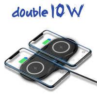20W Schnelle Dual Qi Drahtlose Ladegerät für iPhone 11 Pro XS XR X 8 Airpods 10W Schnell Ladung doppel Lade Pad für Samsung S10 S9 S8