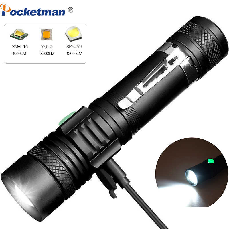 12000 Lums Ultra Bright LED Flashlight USB linterna led torch T6/L2/V6 lanterna Power Tips Bicycle Light Rechargeable Use 18650