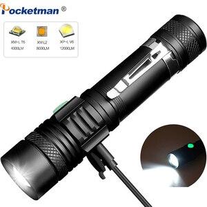 Image 1 - 6000 ลิตรไฟฉาย LED Ultra Bright USB linterna ไฟฉาย LED T6/L2/V6 lanterna Power เคล็ดลับจักรยานชาร์จ 18650