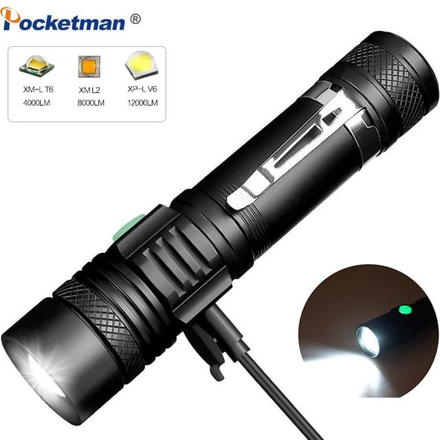 6000 ลิตรไฟฉาย LED Ultra Bright USB linterna ไฟฉาย LED T6/L2/V6 lanterna Power เคล็ดลับจักรยานชาร์จ 18650