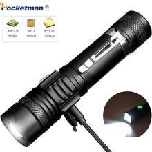 Lampe de poche USB 6000 LED Ultra lumineuse lumens, torche led T6/L2/V6, lanterne avec pointes dalimentation, lumière pour vélo, Rechargeable, utilisation 18650