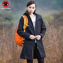 Women long pattern mujer chaquetas wind-proof rain-proof A single layer Soft shell jacket autumn wandelen fleece raincoat