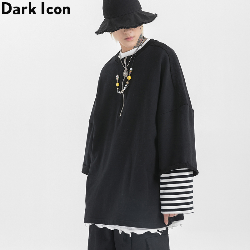 Dark Icon Fake 2pcs Half Front Zipper Men's Sweatshirt Round Neck Oversized Sweatshirts Men Street Fashion Sweatshirt
