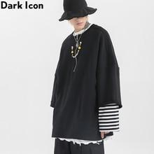 Dark Icon Fake 2pcs Half Front Zipper Mens Sweatshirt Round Neck Oversized Sweatshirts Men Street Fashion