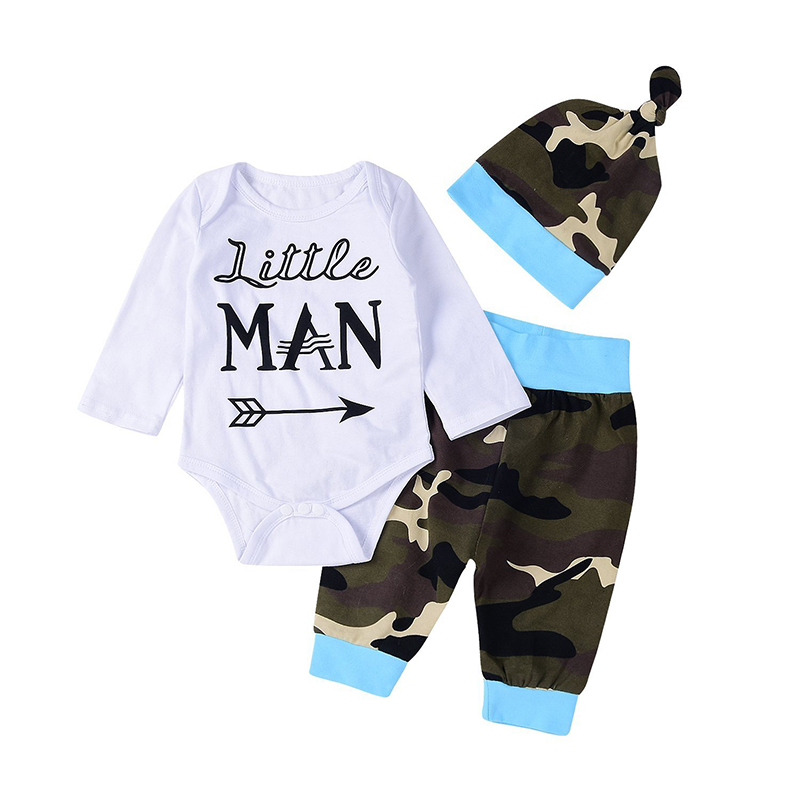 Cute 3pcs Newborn Kids Baby Boys Letter Print Long Sleeve Romper+Camouflage Pants+Hat Outfits Winter Set Clothes ship from USA