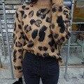 Estilo coreano Outono Pulôver De Malha Camisola das Mulheres Da Moda Sexy Leopardo gilet femme manche Inverno Suéteres de Cashmere Mulheres Topo